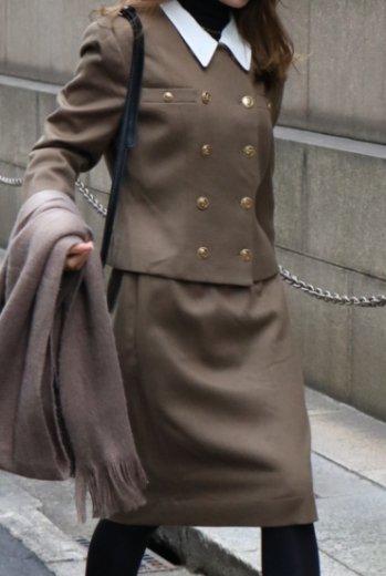 【vintage】2way collar gold retro button jacket & narrow skirt set up