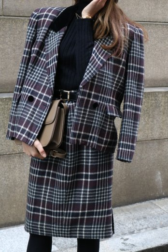 【vintage】notched lapel collar madras check pattern jacket & narrow skirt set up
