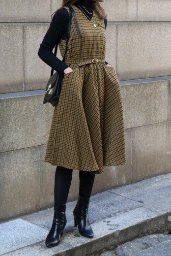 <img class='new_mark_img1' src='https://img.shop-pro.jp/img/new/icons14.gif' style='border:none;display:inline;margin:0px;padding:0px;width:auto;' />【vintage】V neck shoulder button check pattern sleeveless dress (belt set)