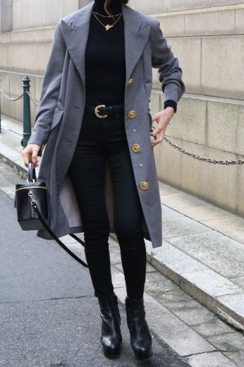 【vintage】CELINE / peaked lapel collar gold logo button long coat