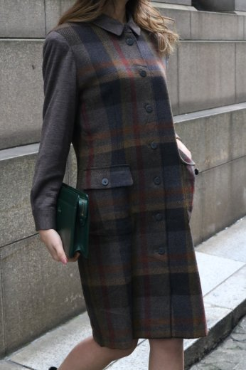 【vintage】short point collar check pattern wool dress