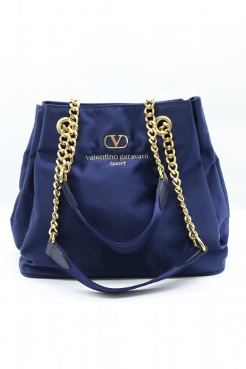 【vintage】VALENTINO GARAVANI / gold shoulder strap embroidery logo purse bag / navy
