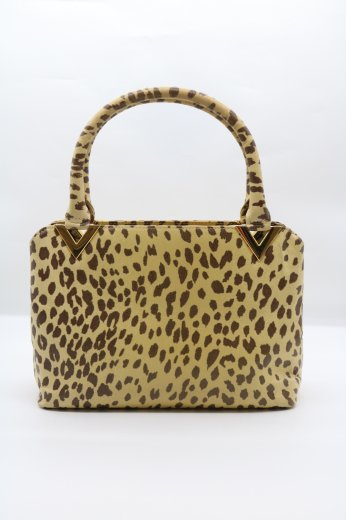【vintage】VALENTINO COUTURE / leopard leather hand bag