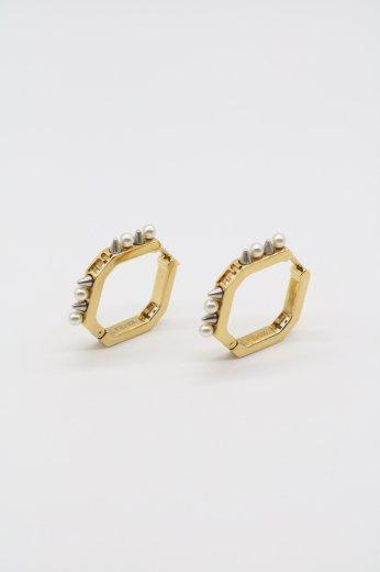 【vintage】FENDI / geometric pierced earrings