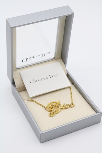 【vintage】Christian Dior / gold logo chain necklace