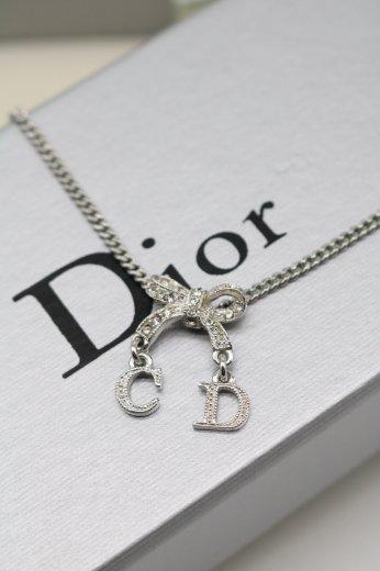 【vintage】Christian Dior / CD logo charm ribbon motif necklace