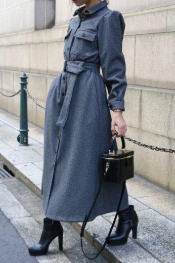 short point collar puff sleeves long flare dress (belt set) / charcoal gray