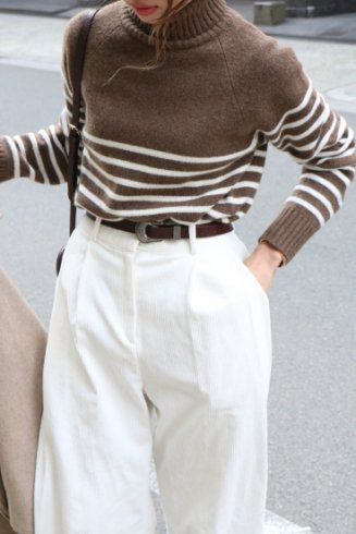 cashmere mix turtle neck stripe pattern bicolor knit tops