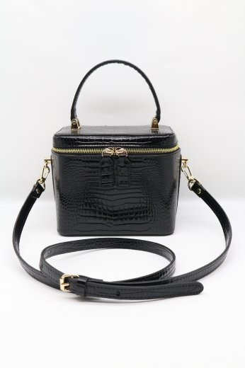 2way croco embossing synthetic leather vanity bag / black