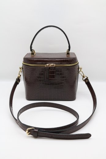 2way croco embossing synthetic leather vanity bag / dark brown