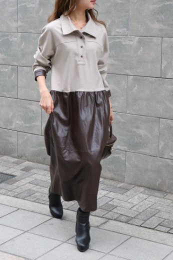 cut away collar synthetic leather skirt docking cotton long dress