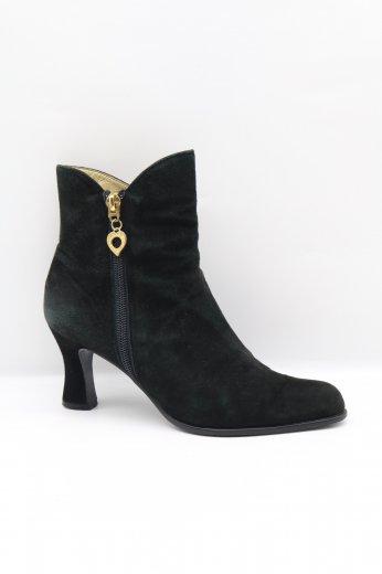 【vintage】Yves Saint Laurent / gold heart charm suede heel short boots