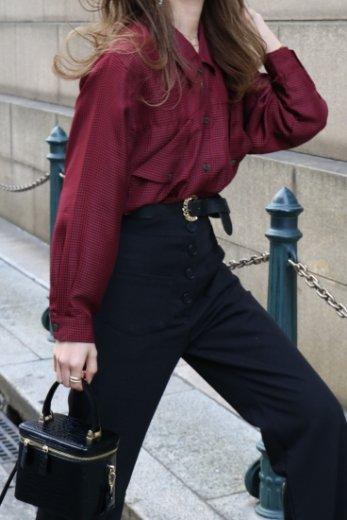 【vintage】design pocket gingham check pattern blouse
