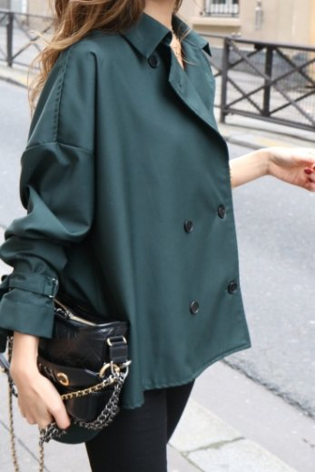 <img class='new_mark_img1' src='https://img.shop-pro.jp/img/new/icons14.gif' style='border:none;display:inline;margin:0px;padding:0px;width:auto;' />2way trench blouse / green