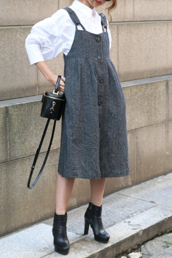 【vintage】front marble button jumper skirt
