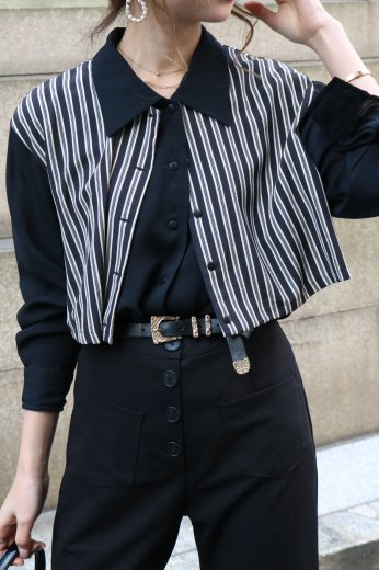 【vintage】stripe layered see-through blouse