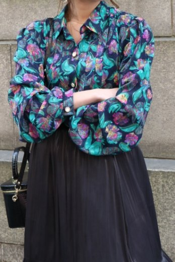 【vintage】front bijou button floral paisley see-through blouse