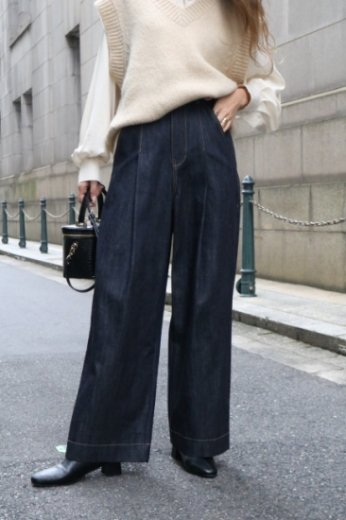 high waist front tuck wide denim pants / one wash
