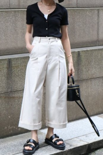 high waist front tuck wide denim pants / ivory