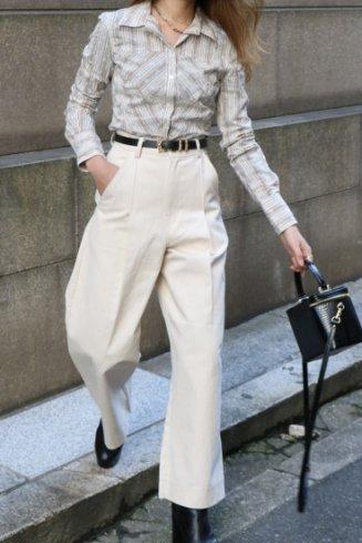 【vintage】Christian Dior / open collar shell button stripe blouse