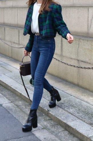 【vintage】Yves Saint Laurent / cord piping check short jacket