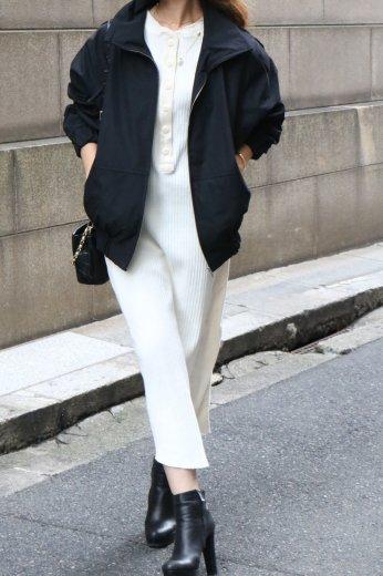front half button rib knit dress / ivory