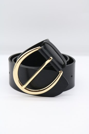 gold oval buckle leather belt