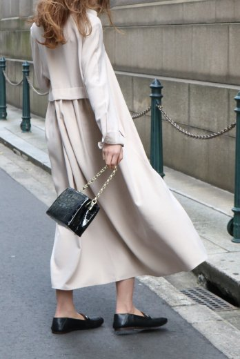 2way back pleats design flare rayon dress (belt ribbon set) / beige