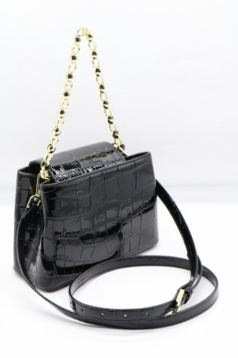 2way croco embossing synthetic leather chain bag / black