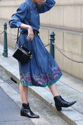 【vintage】loden shoulder patterned all over pleats dress