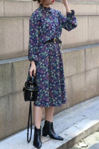 【vintage】stand collar fly front button paisley pattern flare dress