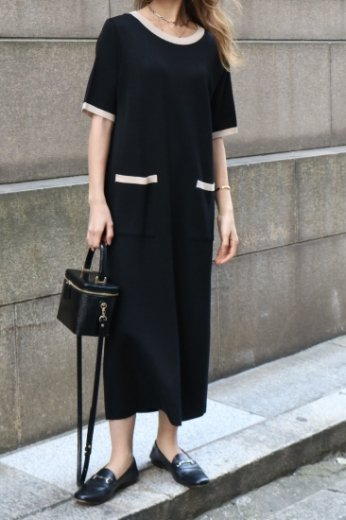 round neck bicolor summer knit dress / black