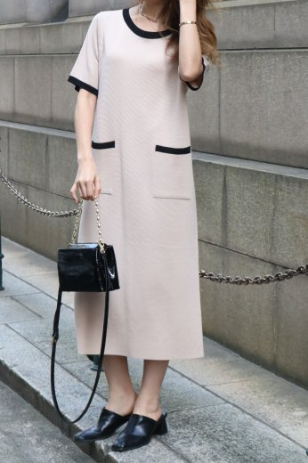 round neck bicolor summer knit dress / beige
