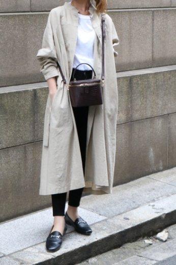 2way stand collar west ribbon linen mix dress  / beige