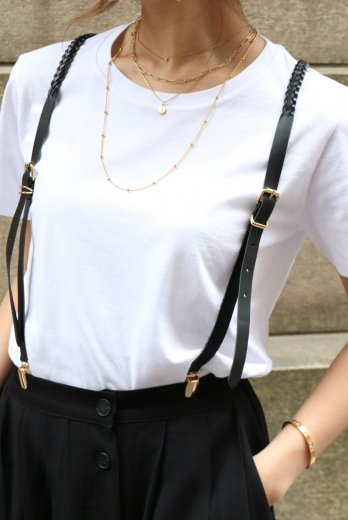gold clip Y type mesh leather suspenders