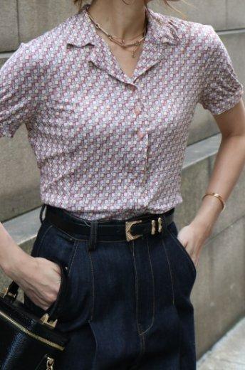 【vintage】FENDI / logo belt patterned all over open collar tops