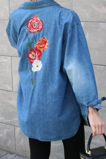 【vintage】KENZO / floral embroidery denim shirt
