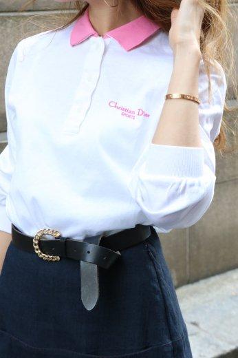 【vintage】Christian Dior / logo embroidery polo shirt