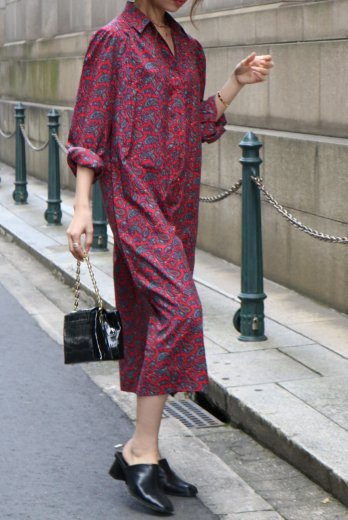 【vintage】paisley pattern skipper shirt dress