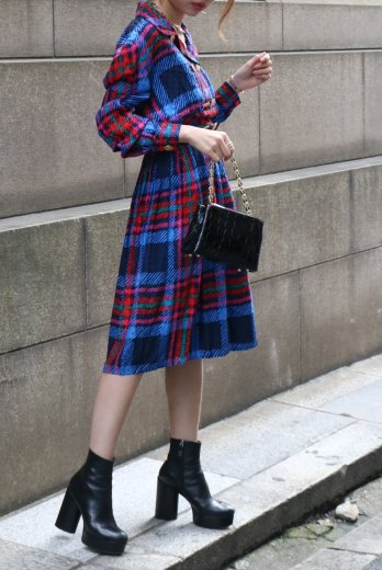 【vintage】open collar gold button check pattern silk dress