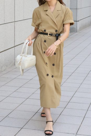 linen double jacket like dress / beige