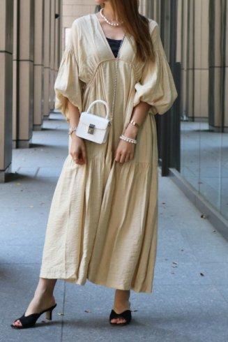balloon sleeves tiered negligee maxi dress (petticoat set) / beige