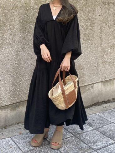 balloon sleeves tiered negligee long dress (petticoat set) / black
