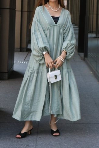 balloon sleeves tiered negligee long dress (petticoat set) / mint