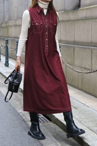 【vintage】white stitch sleeveless A line long dress / bordeaux