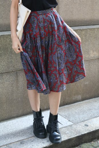 【vintage】paisry pattern pleats skirt