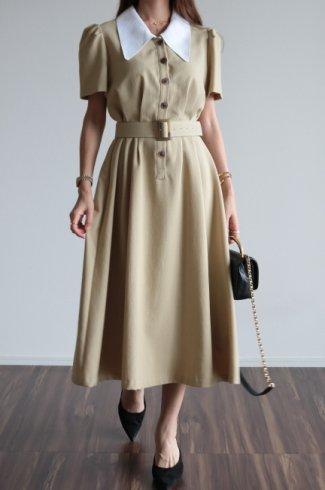 <img class='new_mark_img1' src='https://img.shop-pro.jp/img/new/icons14.gif' style='border:none;display:inline;margin:0px;padding:0px;width:auto;' />barrymore collar tuck design retro flare dress (belt set) / beige