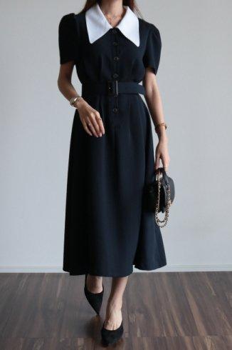 <img class='new_mark_img1' src='https://img.shop-pro.jp/img/new/icons14.gif' style='border:none;display:inline;margin:0px;padding:0px;width:auto;' />barrymore collar tuck design retro flare dress (belt set) / navy
