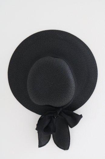 ribbon paper hat / black
