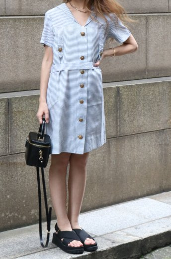 【vintage】50's sailor collar marine look stripe old dress